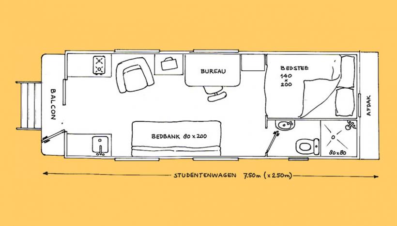 Studentenwagen tekening